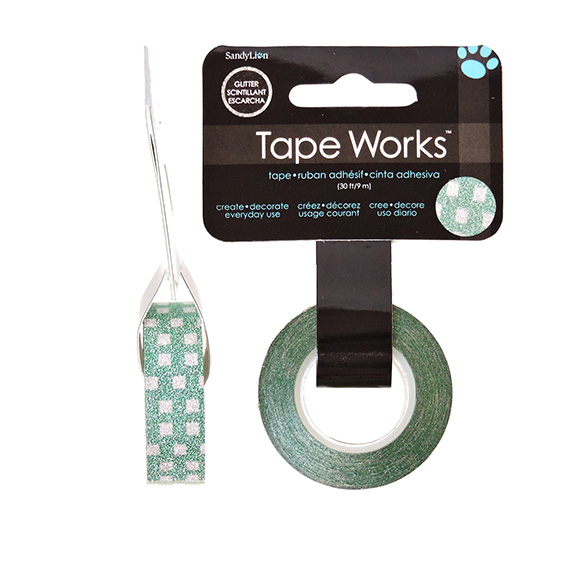 Tape Works Glitter Tape Green Squares 30Ft