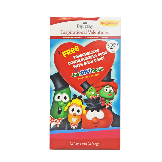 Valentine Cards Veggie Tales® Just Me Music White 24ct