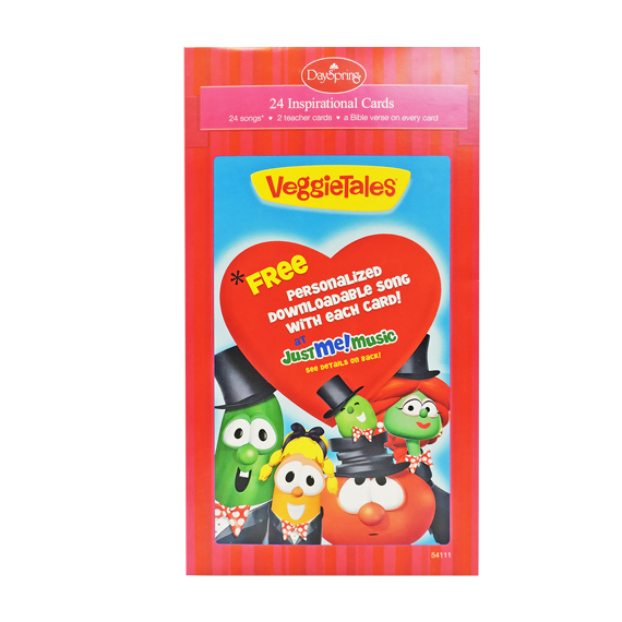 Valentine Cards Veggie Tales® Just Me Music Red 24ct