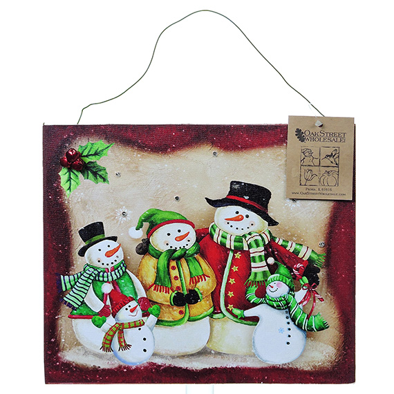 LED Snowman Family Of 5 wall art - light up with timer 12x10