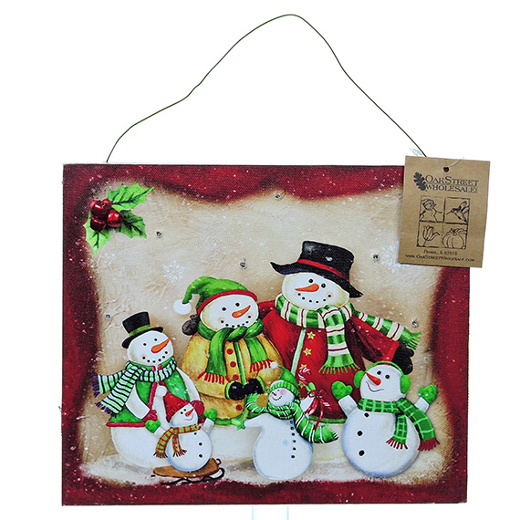LED Snowman Family Of 6 wall art - light up with timer 12x10