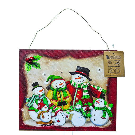 LED Snowman Family Of 7 wall art - light up with timer
