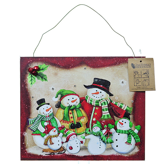 LED Snowman Family Of 7 wall art - light up with timer 12x10