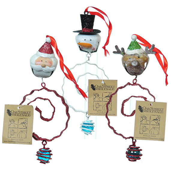 Hanging Jingle Bell Christmas Ornament - 3 assorted