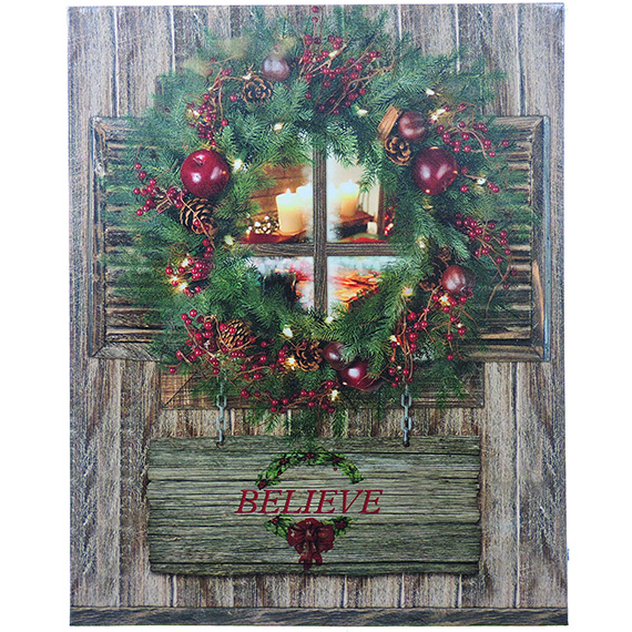 Believe Wreath On Door Holiday Wall Art 16x20