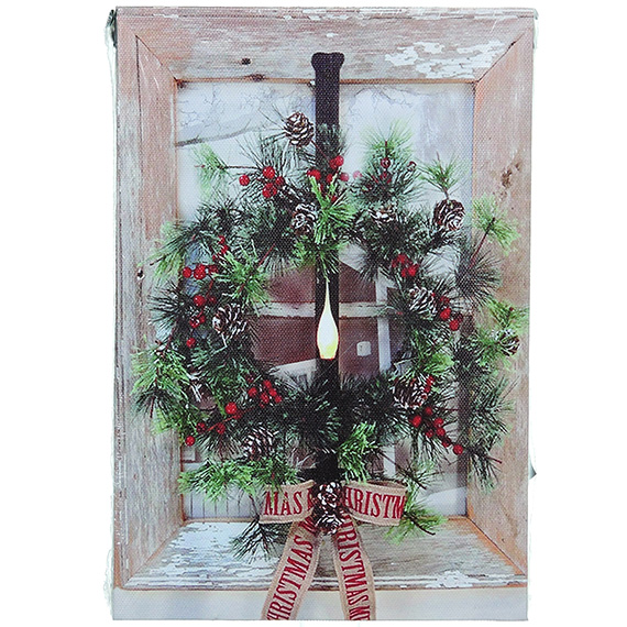 Christmas Wreath on Window wall art - w light up timer 6x9