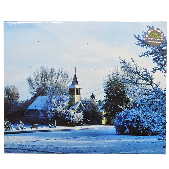 LED Snowy Church Scene wall art - light up with timer 14x17