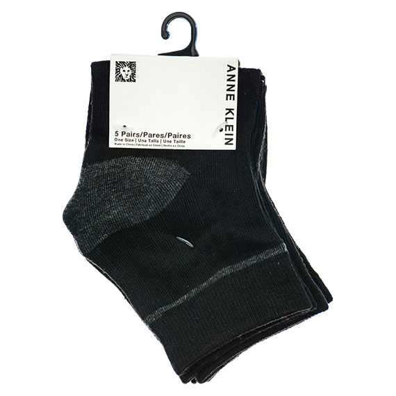 5 Pack Womens Black Ankle Socks - One Size PP $18