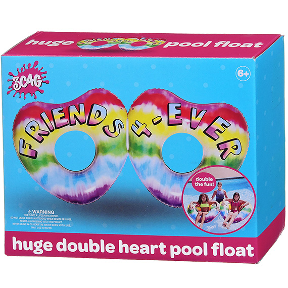 Friends 4Ever Double Heart Pool Float 80 X 38 Inches Age 6+