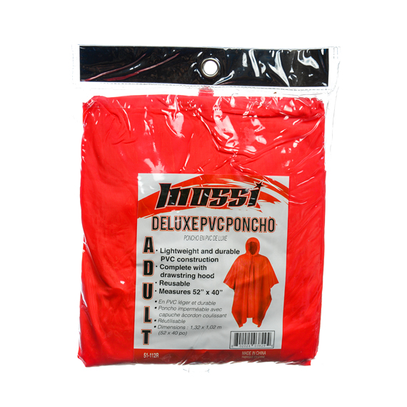 Deluxe PVC Poncho w/Drawstring Hood Red - 52