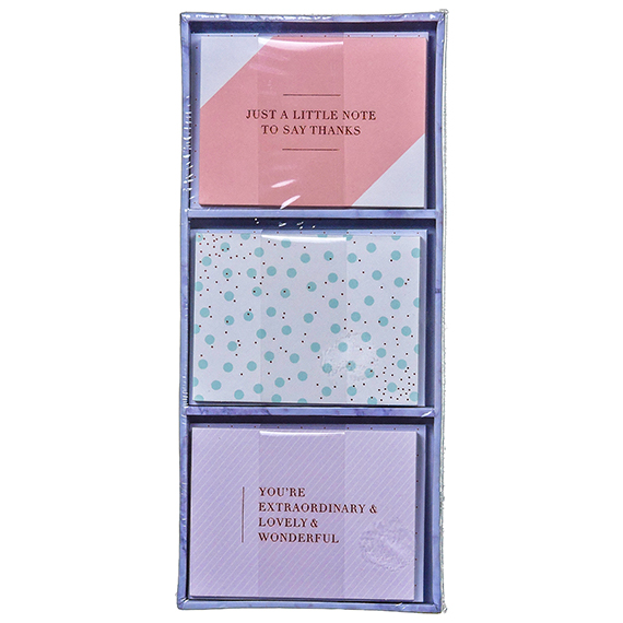 Mini Note Card Set in Tray Box Incl 18 Cards of 3 Designs