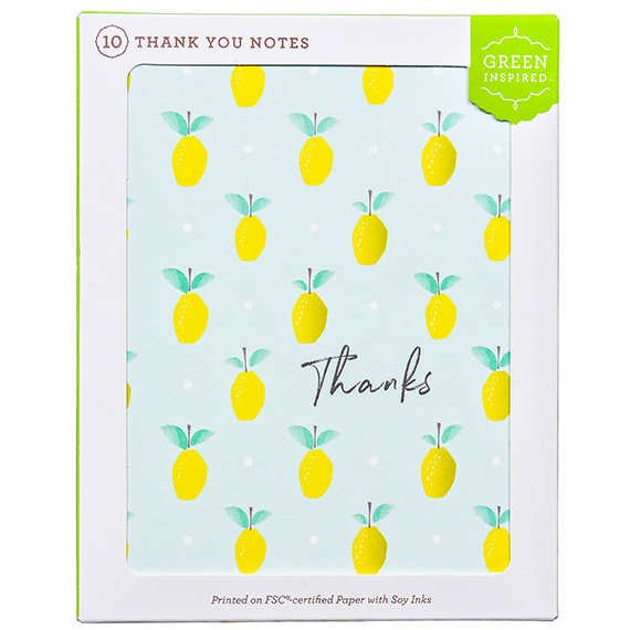 Boxed 10-Ct Thank You Notes - Lemon design with Thanks