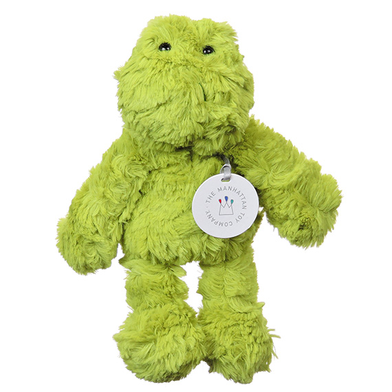 Ferris Frog Small Plush Furry Spring Green Color Black Eyes