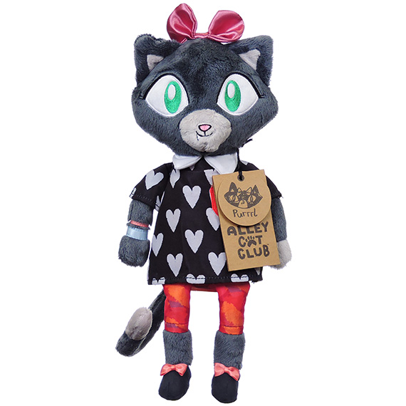 Alley Cats Purrrl Furry Plush Drk Gray Fur Pink Bows Blk Top