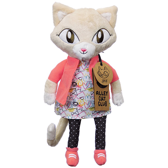 Alley Cats Jinx Plush Furry Tan & White Color Dark Pink Vest