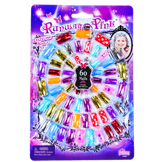 Runway Pink Dazzling Nails Set Age 5+