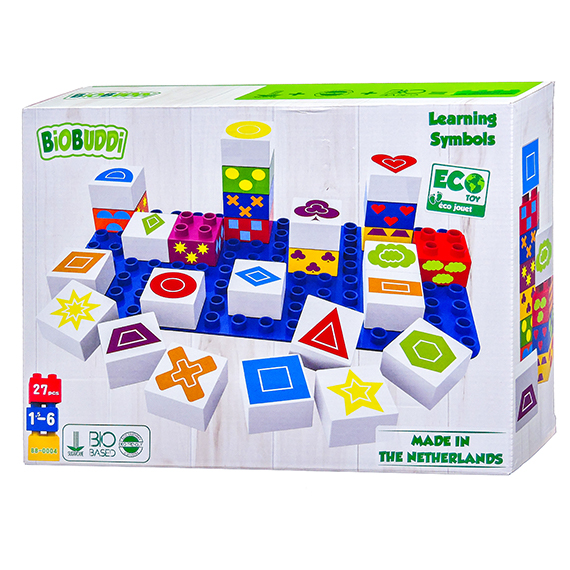 Biobuddi Symbols Learning Blocks - 27 pieces - Eco Toy