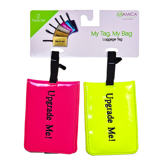 Pink and Yellow Neon Luggage Tags 2 Pc Set