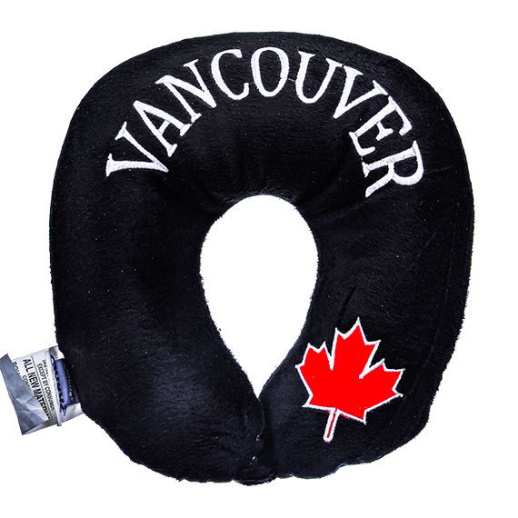 Microbead Travel Neck Pillow-Vancouver w/Maple Leaf - Black