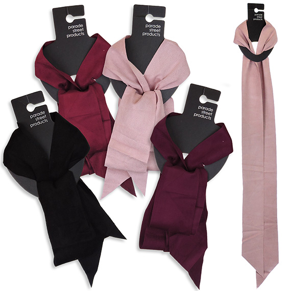 Skinny Faux Suede Scarf 4 Asst
